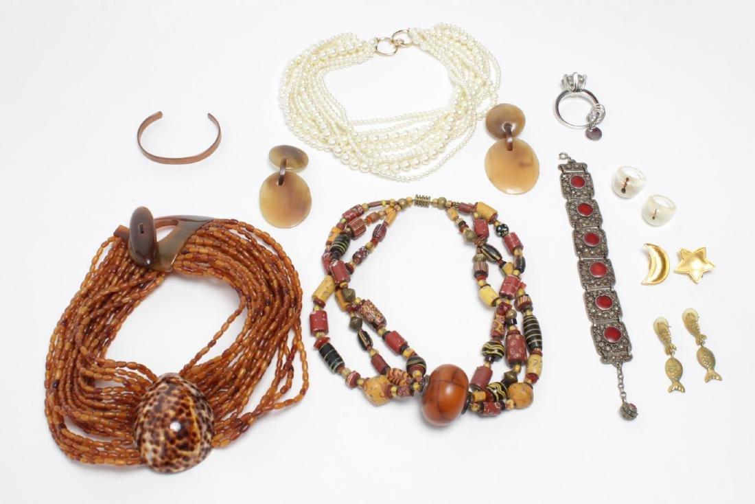 Shell, Bead, Pearl & Metal Costume Jewelry, 11 Pcs