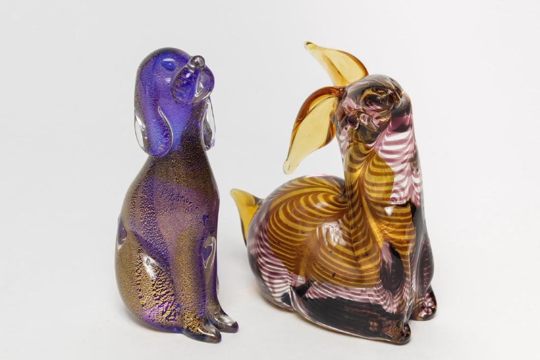 Italian Murano Glass Animal Figures, 2 Vintage