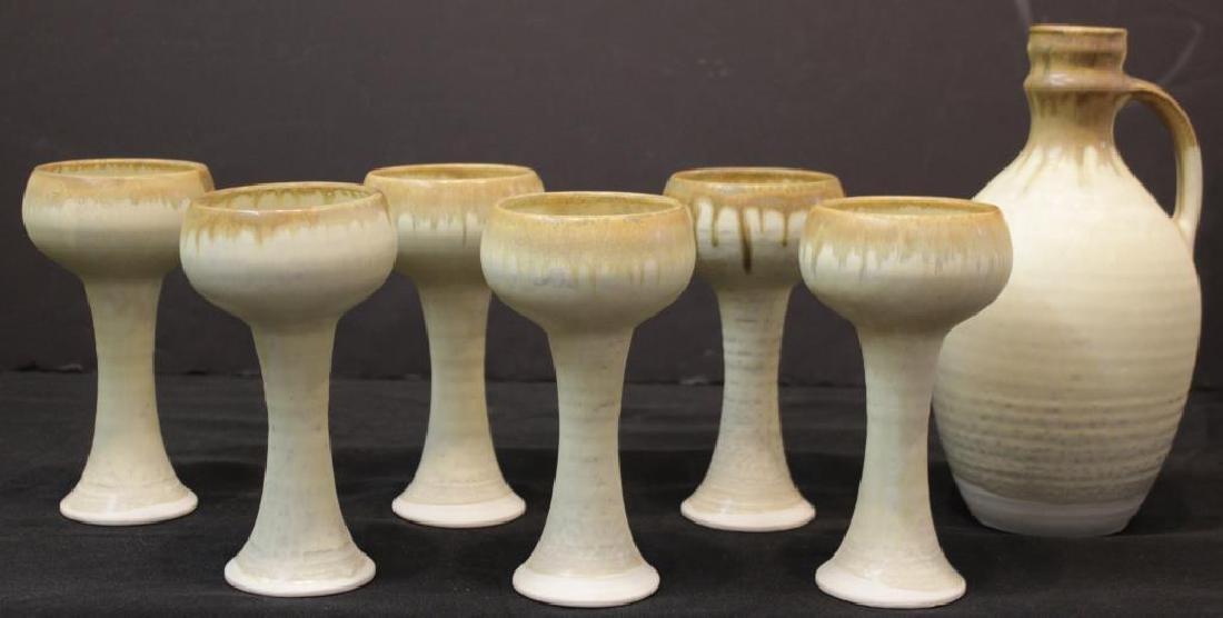 Ardington Pottery Bone-Glazed Wine Jug & Goblets