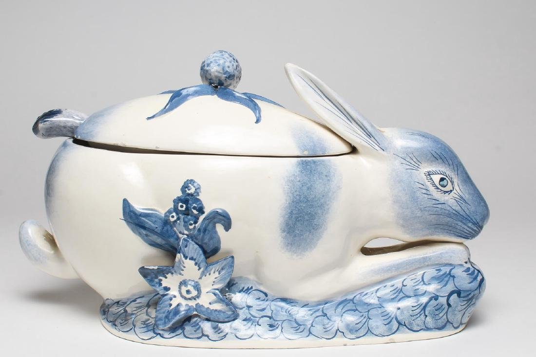 Italian Porcelain Rabbit-Form Tureen & Ladle