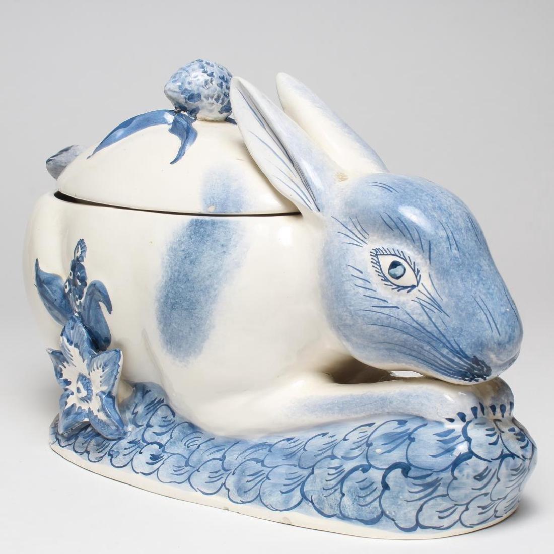 Italian Porcelain Rabbit-Form Tureen & Ladle - 2