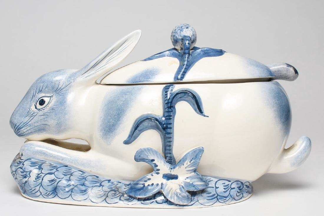 Italian Porcelain Rabbit-Form Tureen & Ladle - 3
