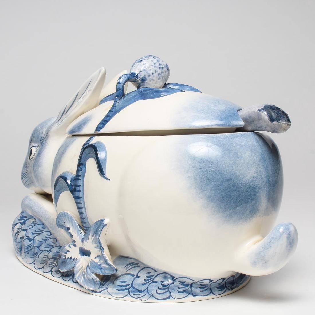 Italian Porcelain Rabbit-Form Tureen & Ladle - 4