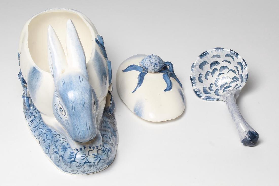 Italian Porcelain Rabbit-Form Tureen & Ladle - 5