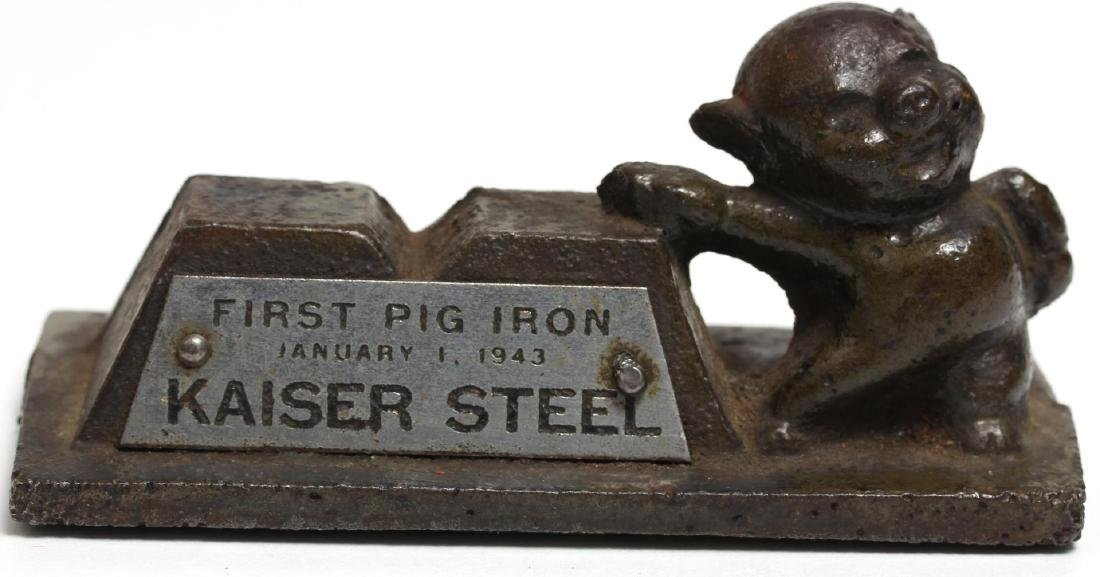 "Vintage Kaiser Steel ""First Pig Iron"" Paperweight"