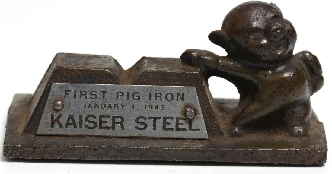 "Vintage Kaiser Steel ""First Pig Iron"" Paperweight"