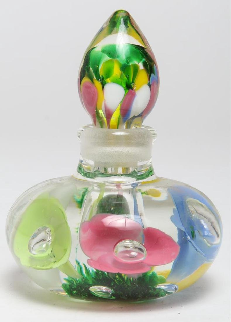 Joe St. Clair Art Glass Floral Perfume Bottle