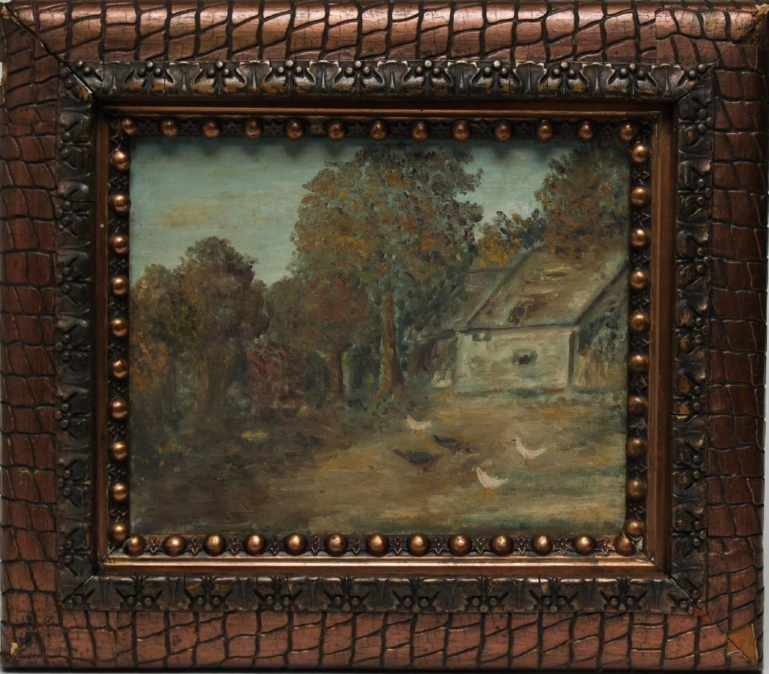 Folk Art Landscape w Chickens- Oil on Canvas Board