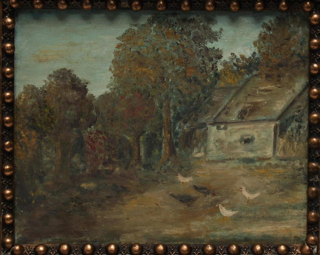 Folk Art Landscape w Chickens- Oil on Canvas Board - 2