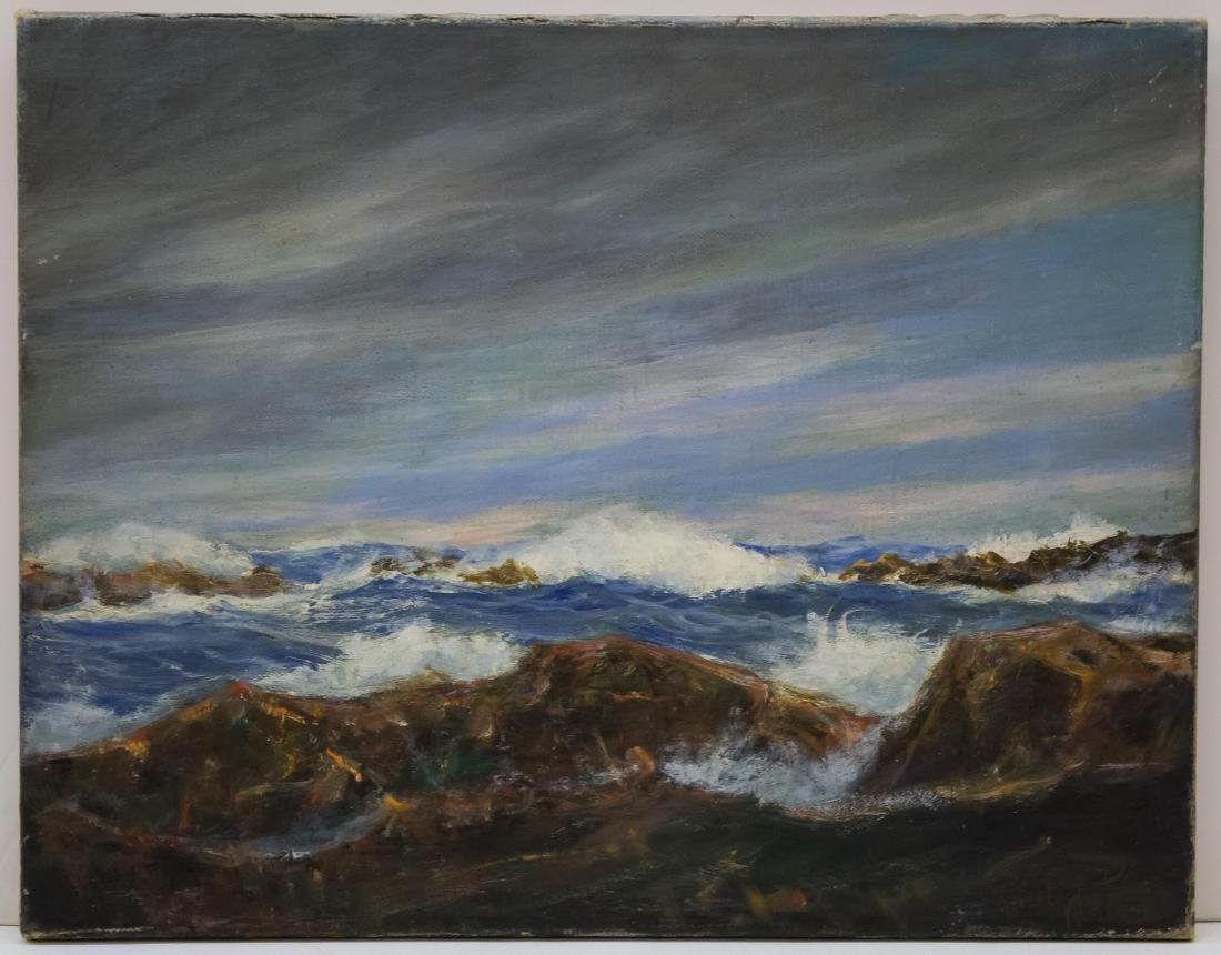 Signed Robert Pie- Seascape Oil on Canvas Painting
