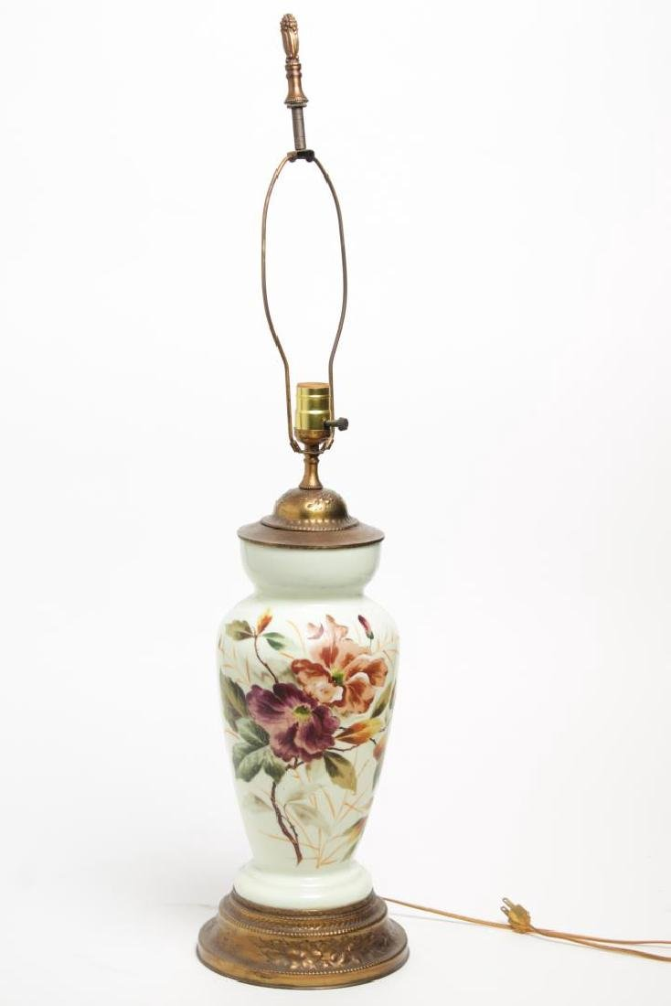 Porcelain Vase Lamp, Floral-Painted