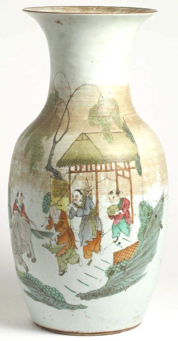 Chinese Polychrome Porcelain Baluster Vase