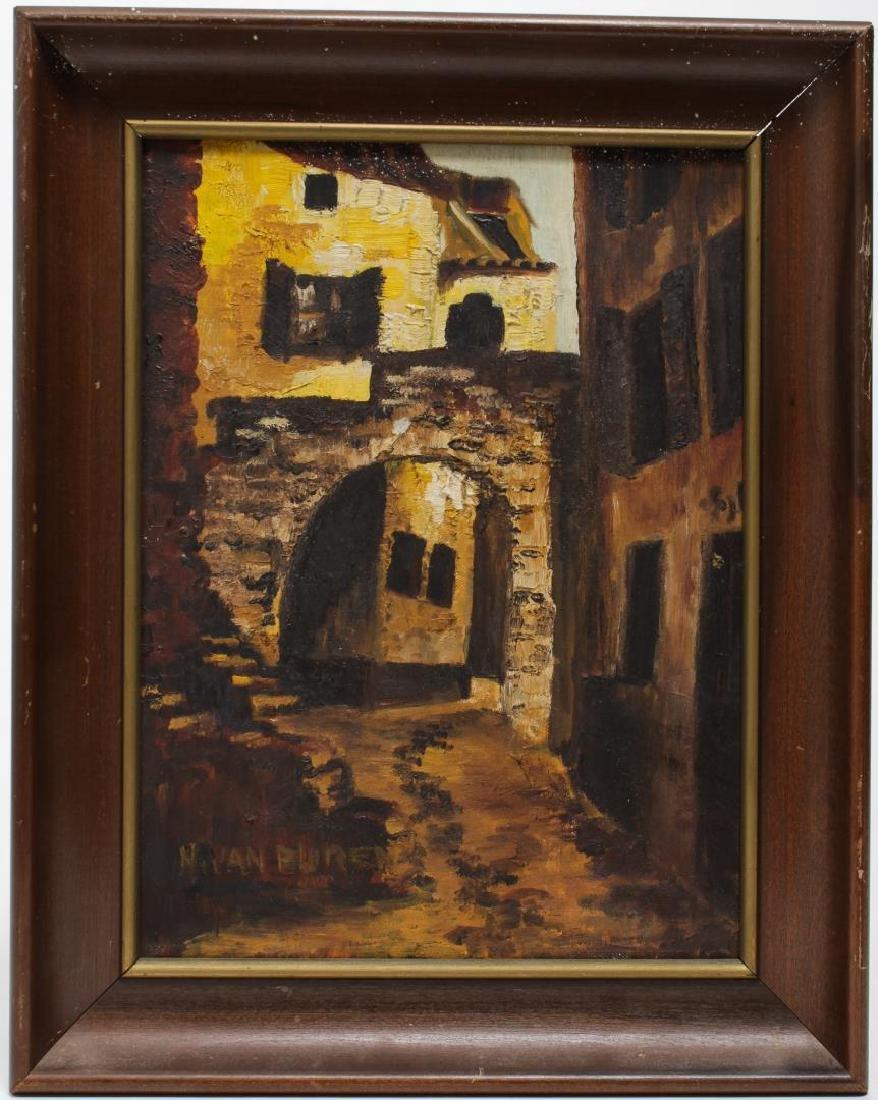 Signed Nivan Buren, Architectural Landscape- Oil