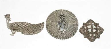 Silver  Marcasite Womans Brooches 3 Pins