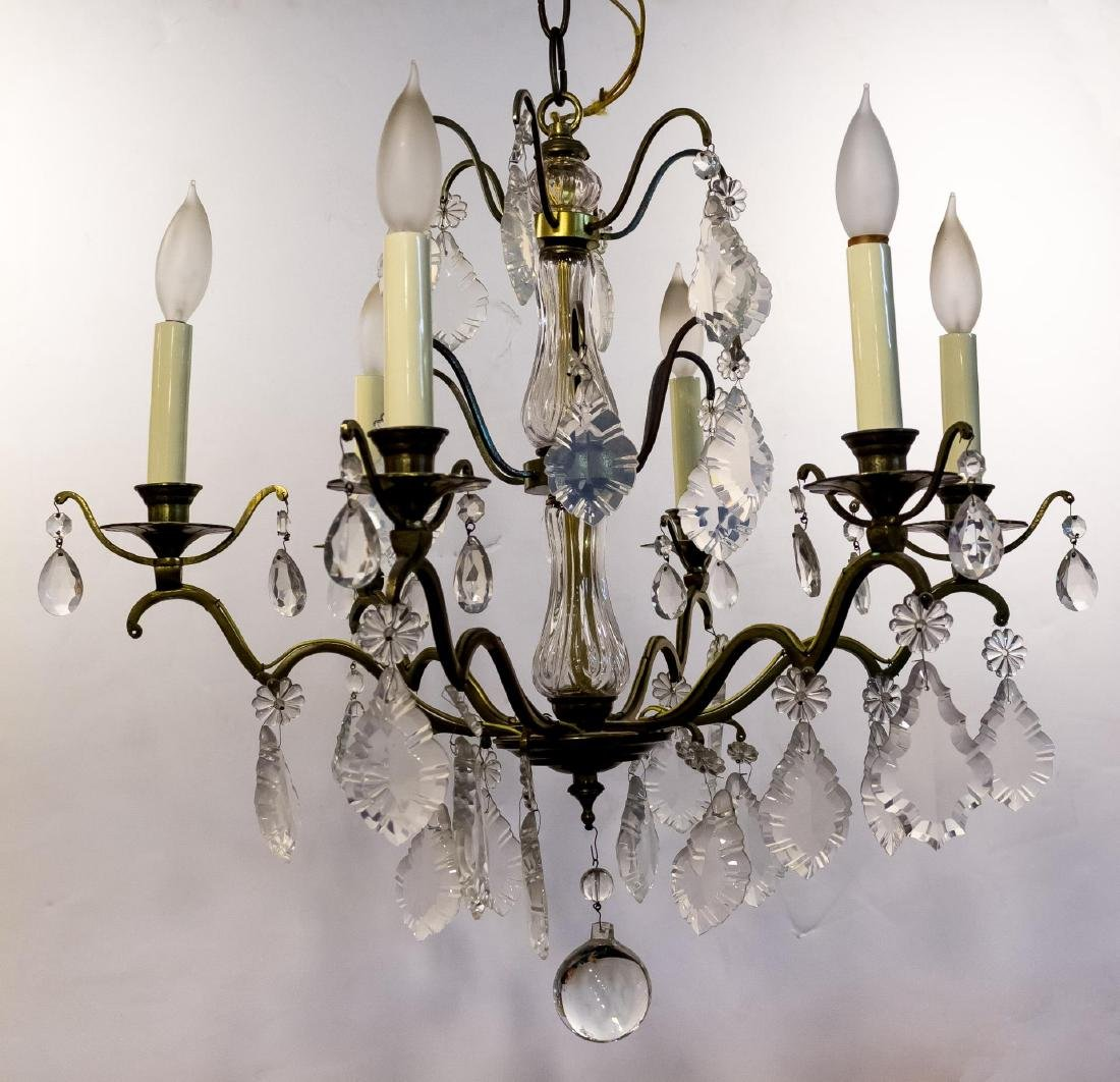 Gilt Metal & Crystal 6-Light 3-Tiered Chandelier