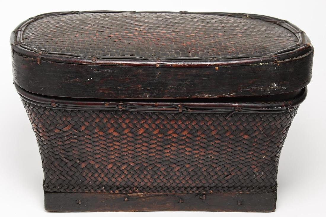 Antique Filipino Lacquered Bamboo Storage Basket