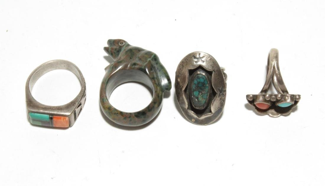 Native American Silver & Turquoise & Fetish Rings