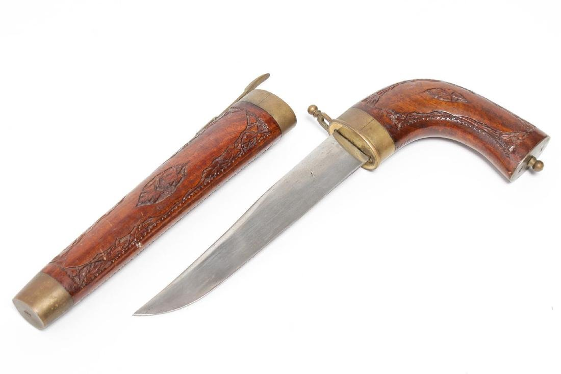 Indian Steel Dagger in Hand-Carved Wood Scabbard