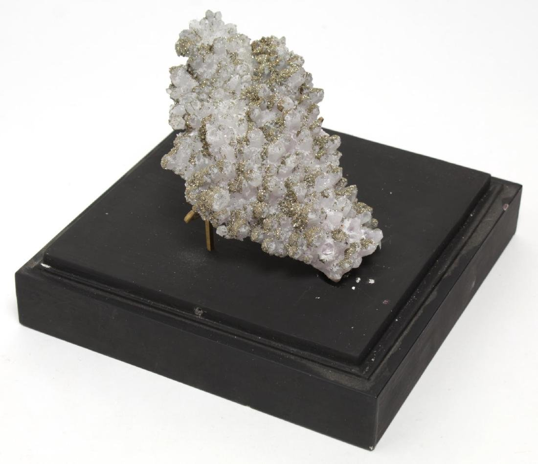 Specimen White Quartz Tipped with Pyrite Crystals