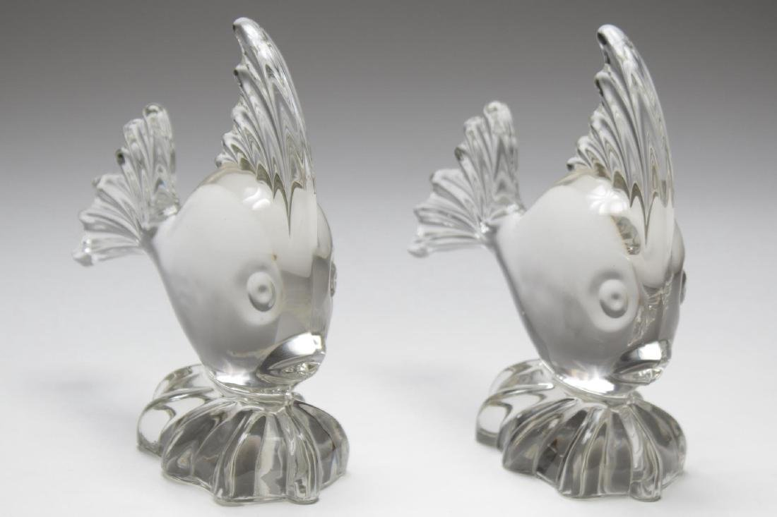 Fish Sculptures in Colorless Lead Crystal, Pair