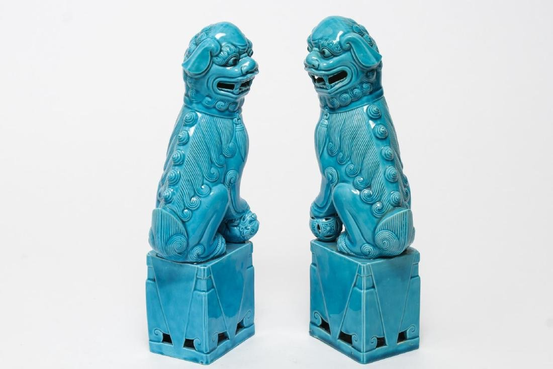 Chinese Turquoise-Glazed Pottery Foo Dogs, Pair - 3