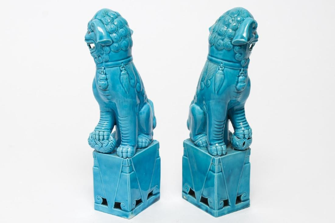 Chinese Turquoise-Glazed Pottery Foo Dogs, Pair - 5