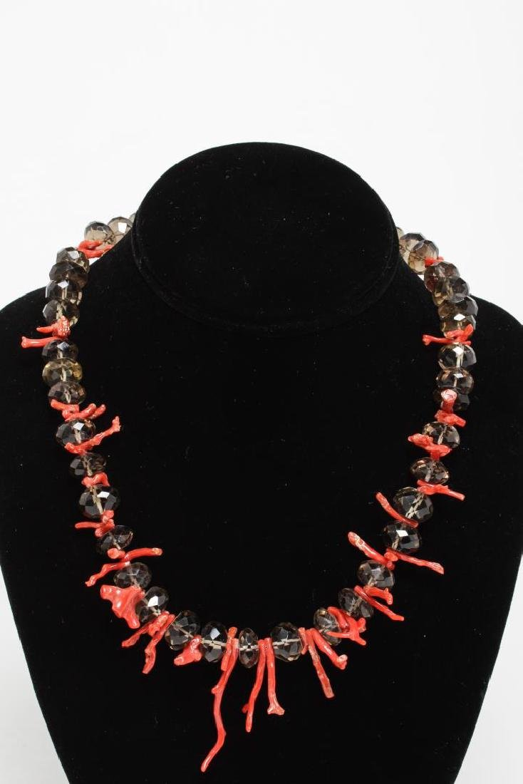 Spiny Coral & Rock Crystal Necklaces - 3