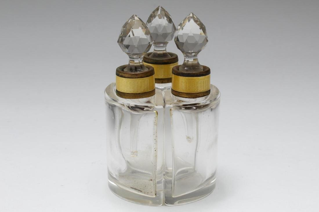 Austrian Glass & Enamel Fitted Perfume Flasks, 3