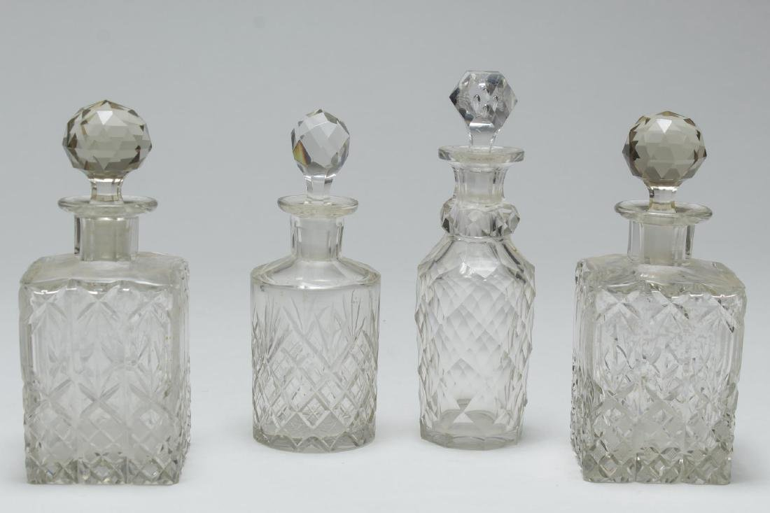 Colorless Cut Crystal & Glass Perfume Flasks, 4