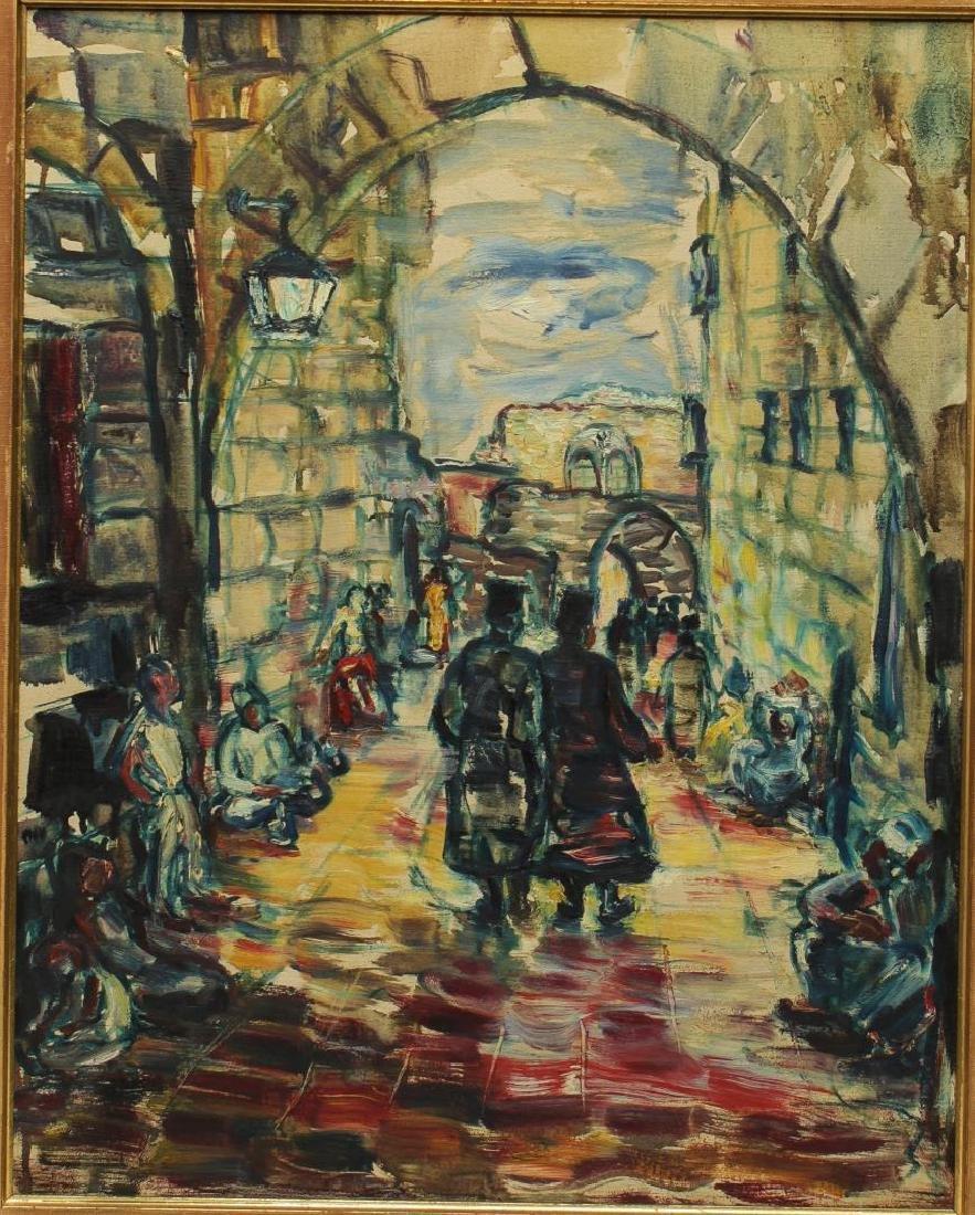 Israeli/Judaica Cityscape Oil on Canvas