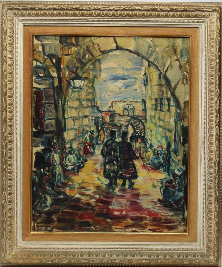 Israeli/Judaica Cityscape Oil on Canvas - 2