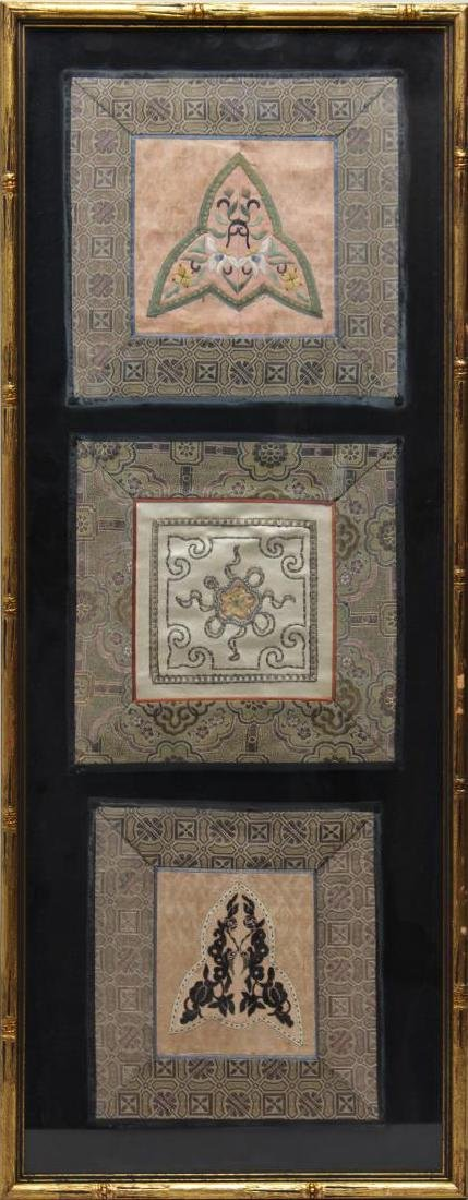 Chinese Embroidered Silk Panels, 3 Framed