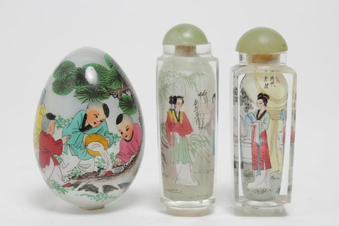 Chinese Reverse-Painted Glass Snuff Bottles & Egg