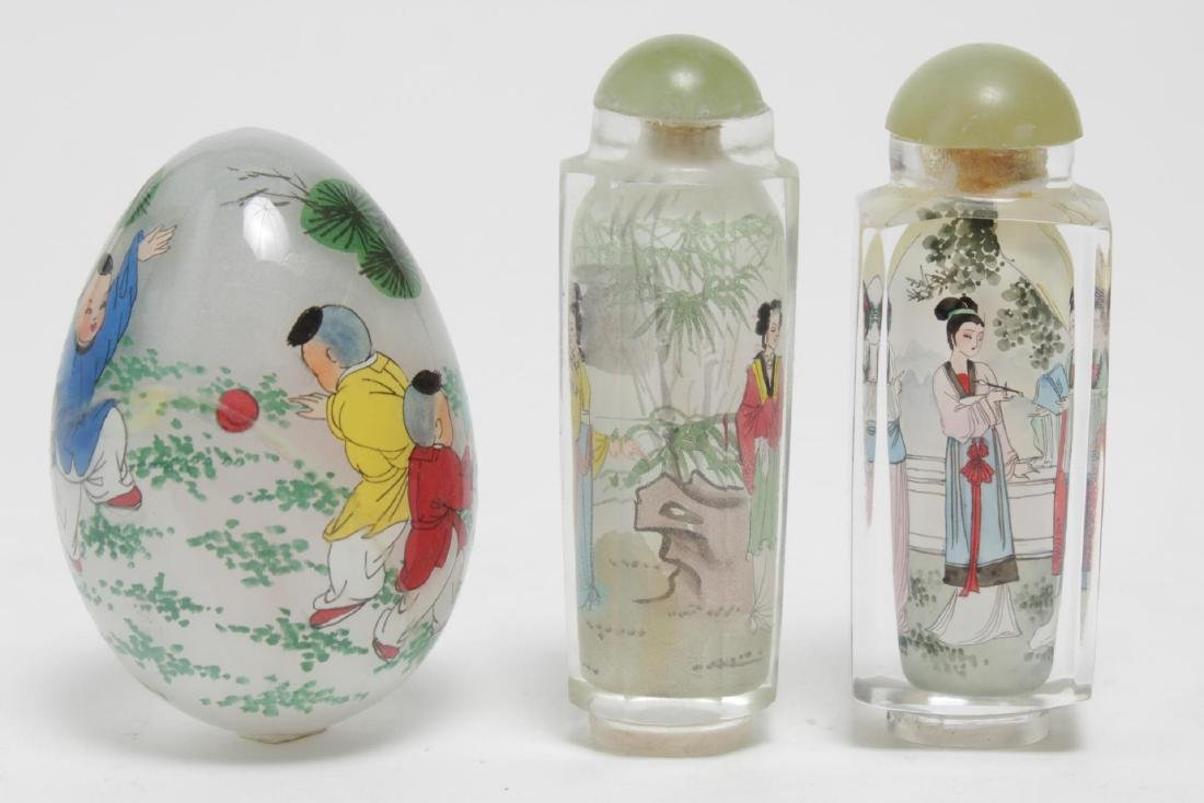 Chinese Reverse-Painted Glass Snuff Bottles & Egg - 2