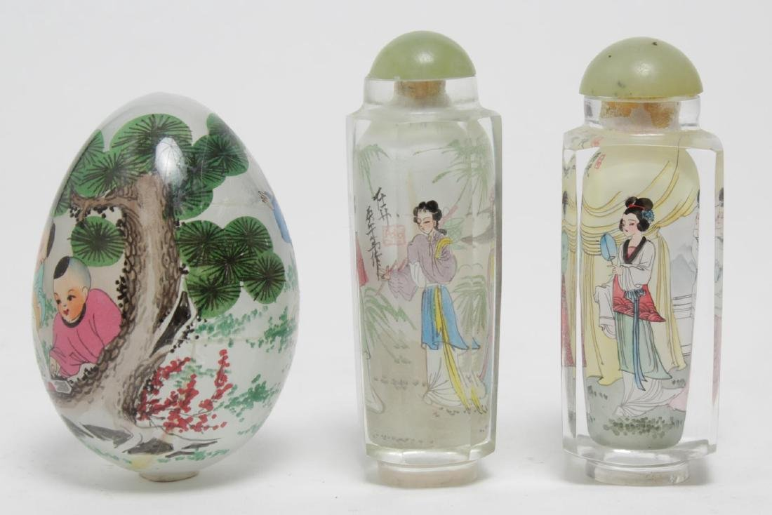 Chinese Reverse-Painted Glass Snuff Bottles & Egg - 4