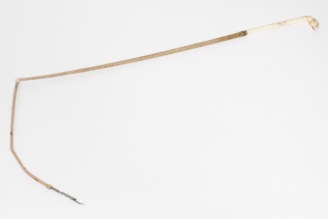 Antique Bone, Brass & Leather Ram's Head Quirt