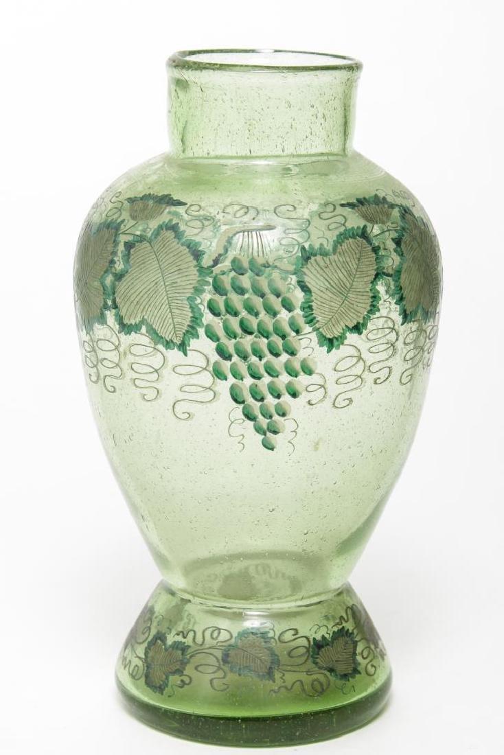 German Intaglio Cut & Painted Glass Vase, 19th C.