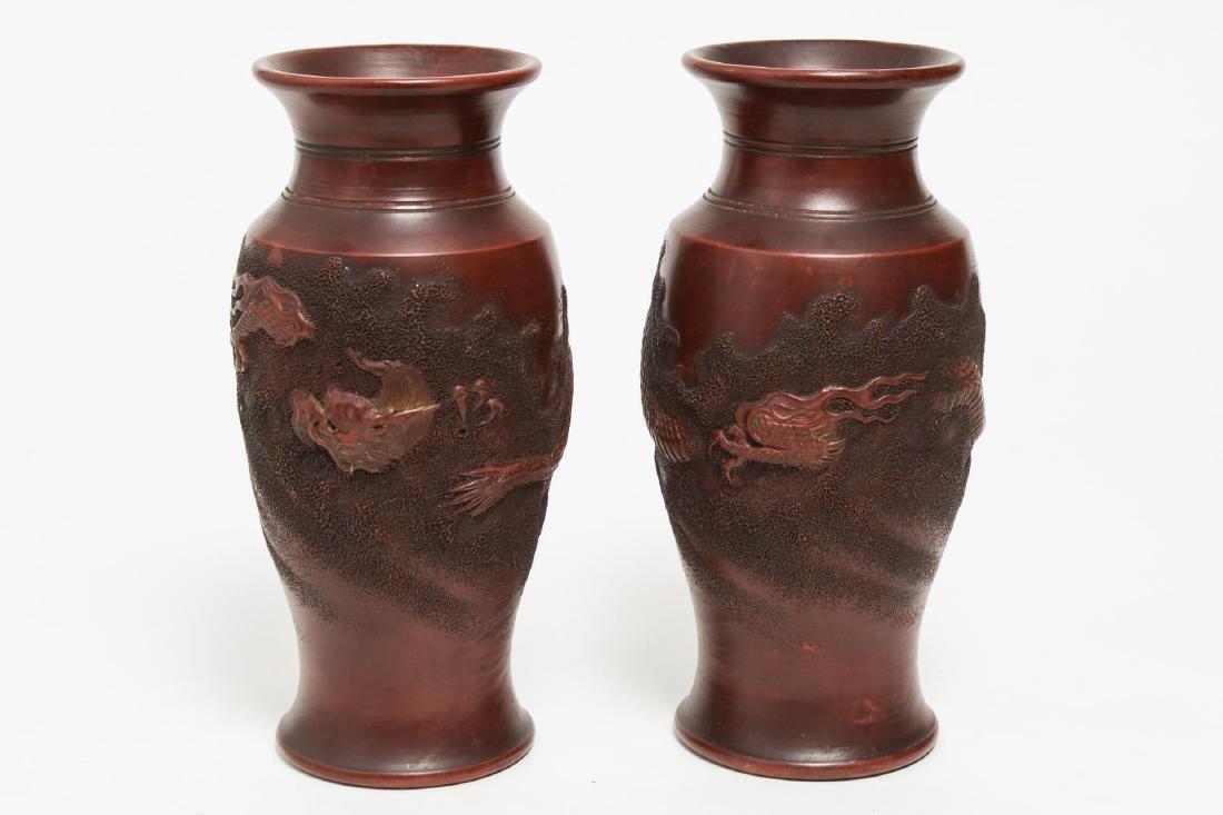 Japanese Bizen Unglazed Pottery Dragon Vases, Pair