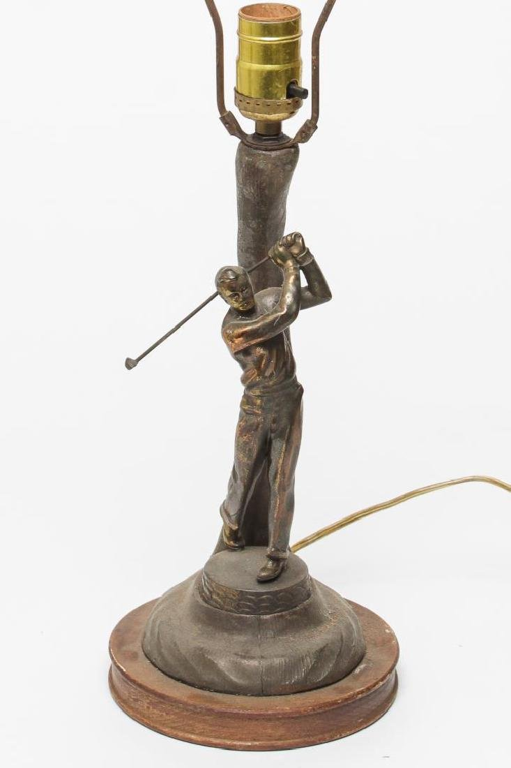 "Coppered Metal ""Golfer"" Novelty Lamp, 1920s - 2"