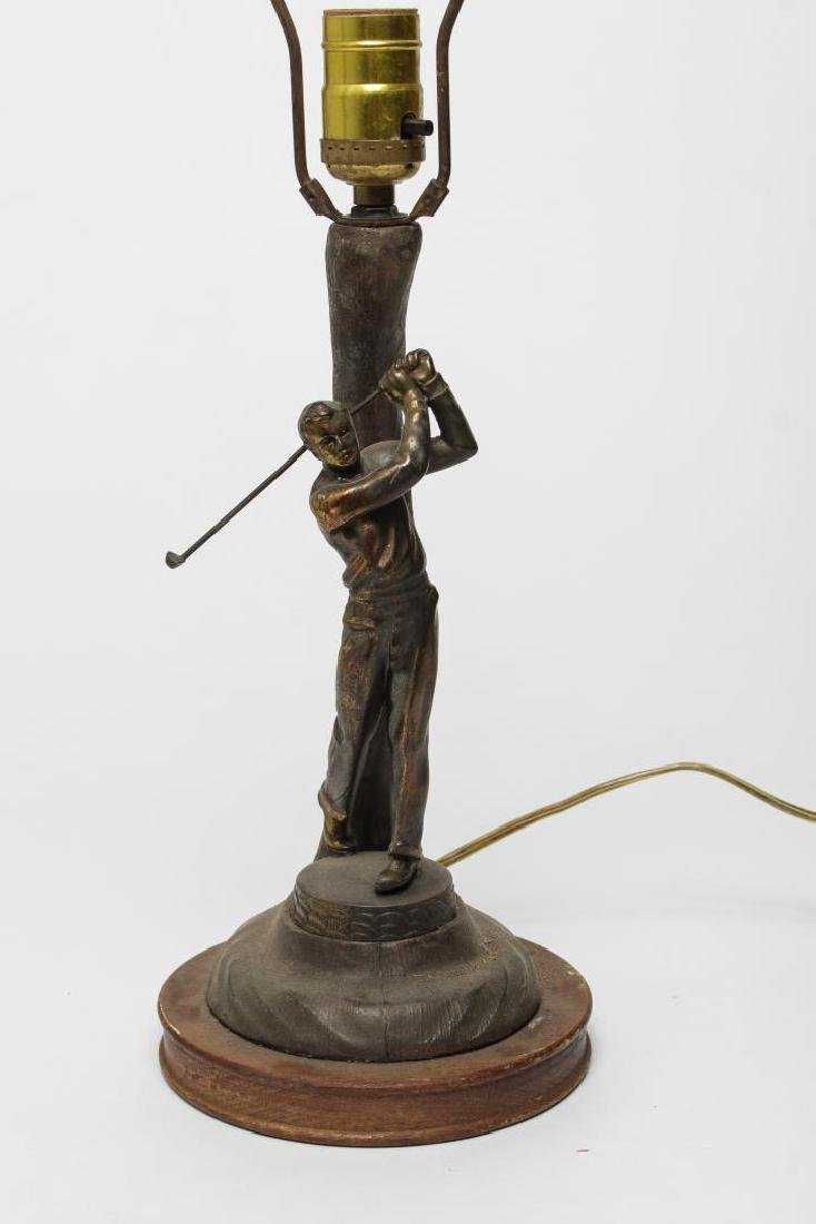 "Coppered Metal ""Golfer"" Novelty Lamp, 1920s - 4"