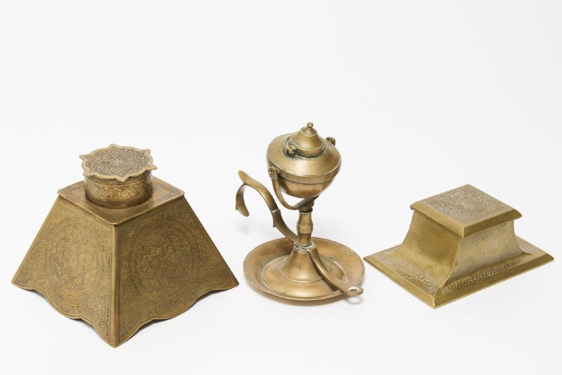 Victorian Brass Antique Inkwells, 3