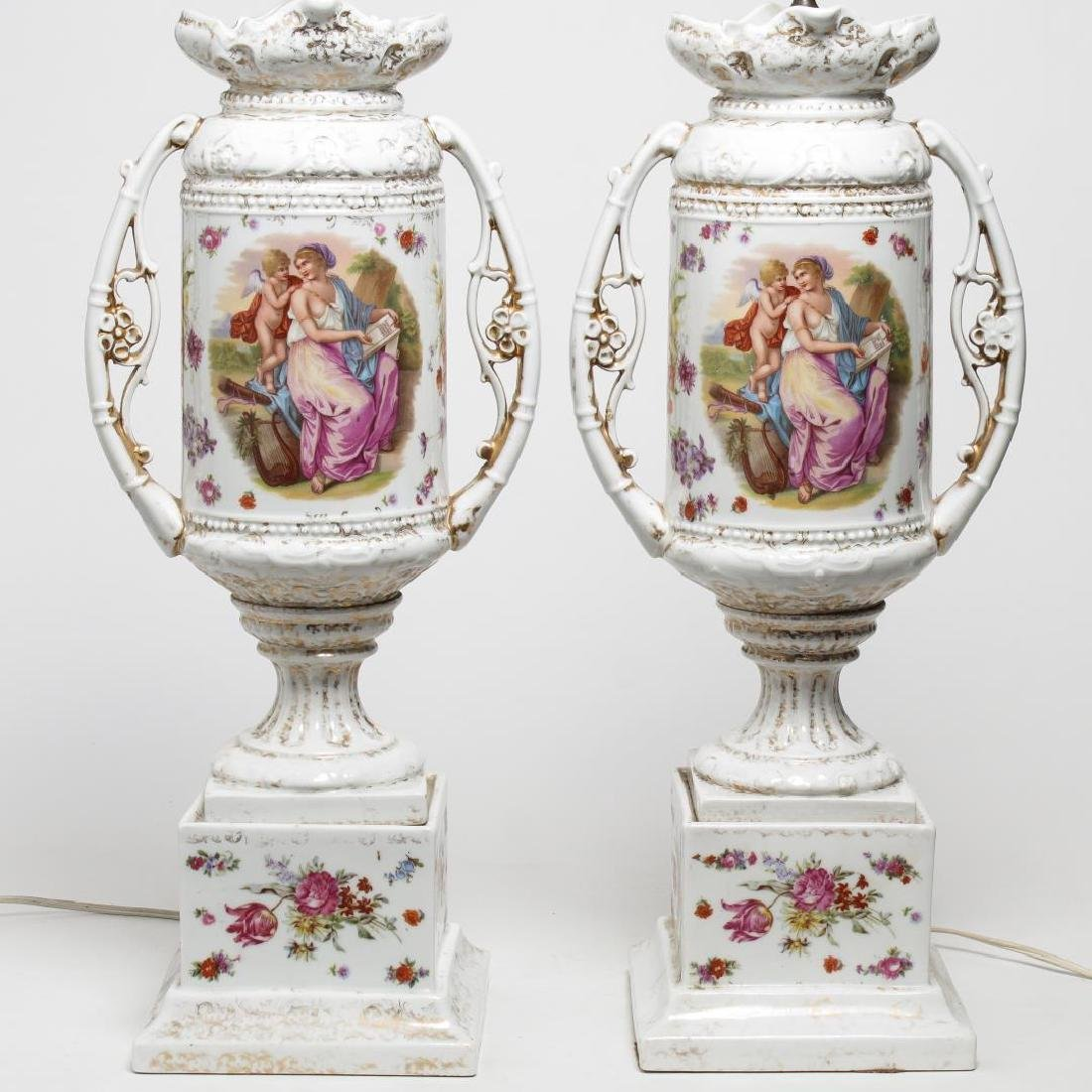 German Gilt Porcelain Vase Lamps, 2