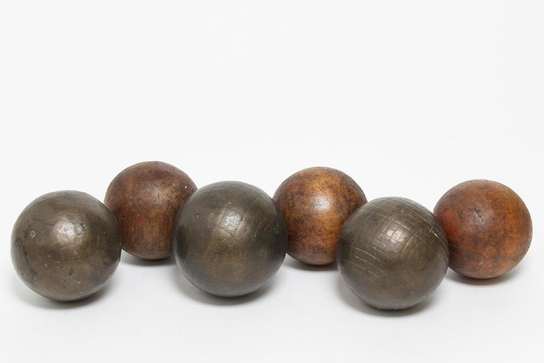 Antique Metal & Wood Carpet Balls, Group of 6