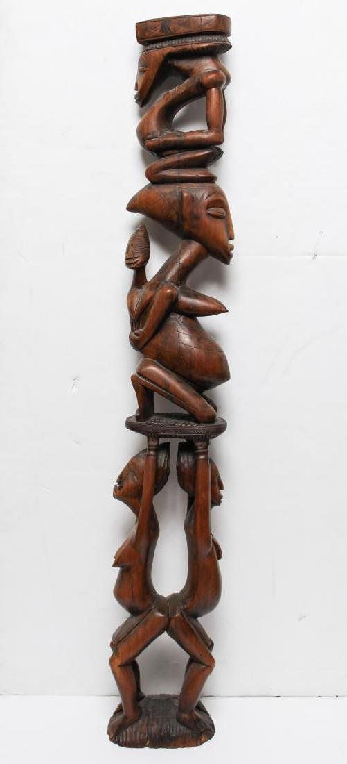 African Tribal Carved Wood Maternity Figure Column
