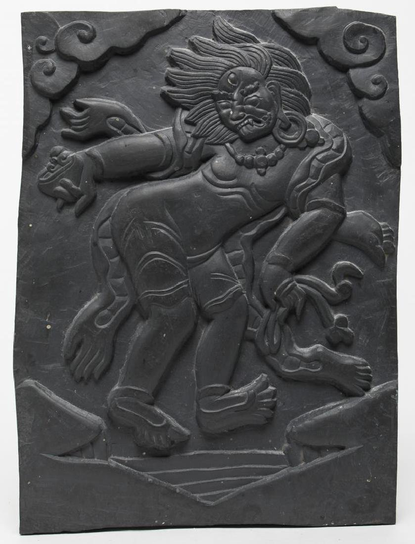 Tibetan Black Stone Carving of a Fanged Demon