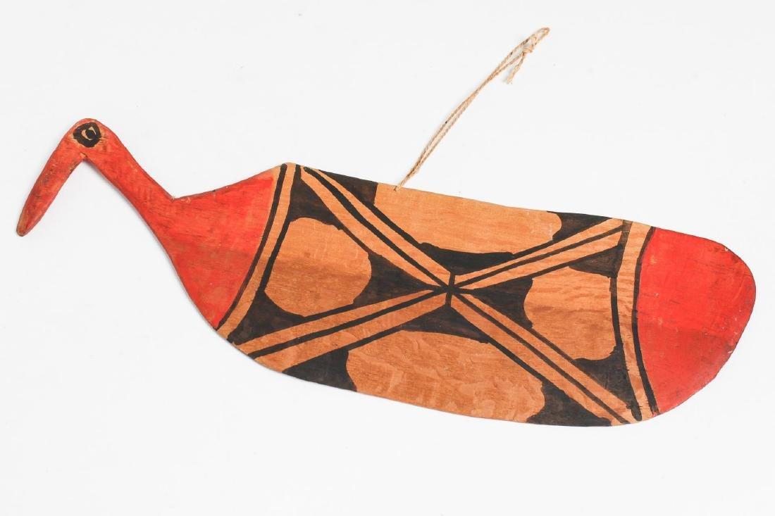 Ethnographic Tribal Painted Paddle w. Bird Handle