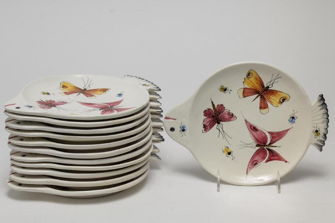 Italian Hand-Painted Fish-Form Pottery Plates, 12
