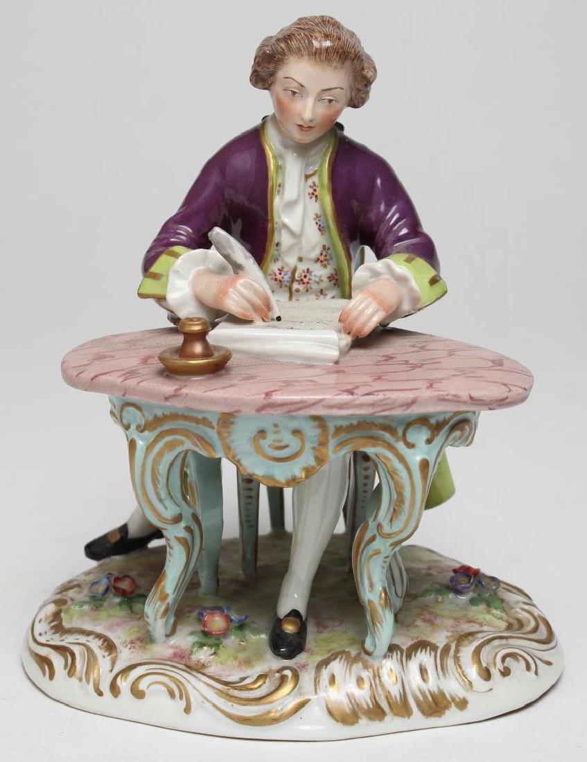 Samson Porcelain Seated Male Figurine, 19th C.