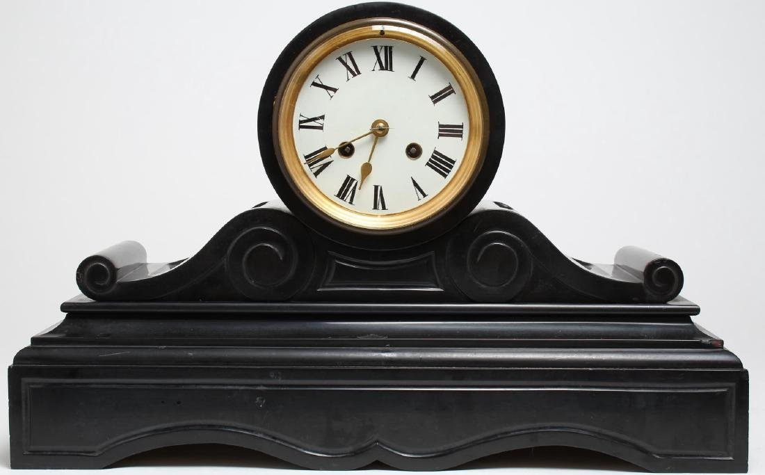 Black Marble Mantel Clock, Antique