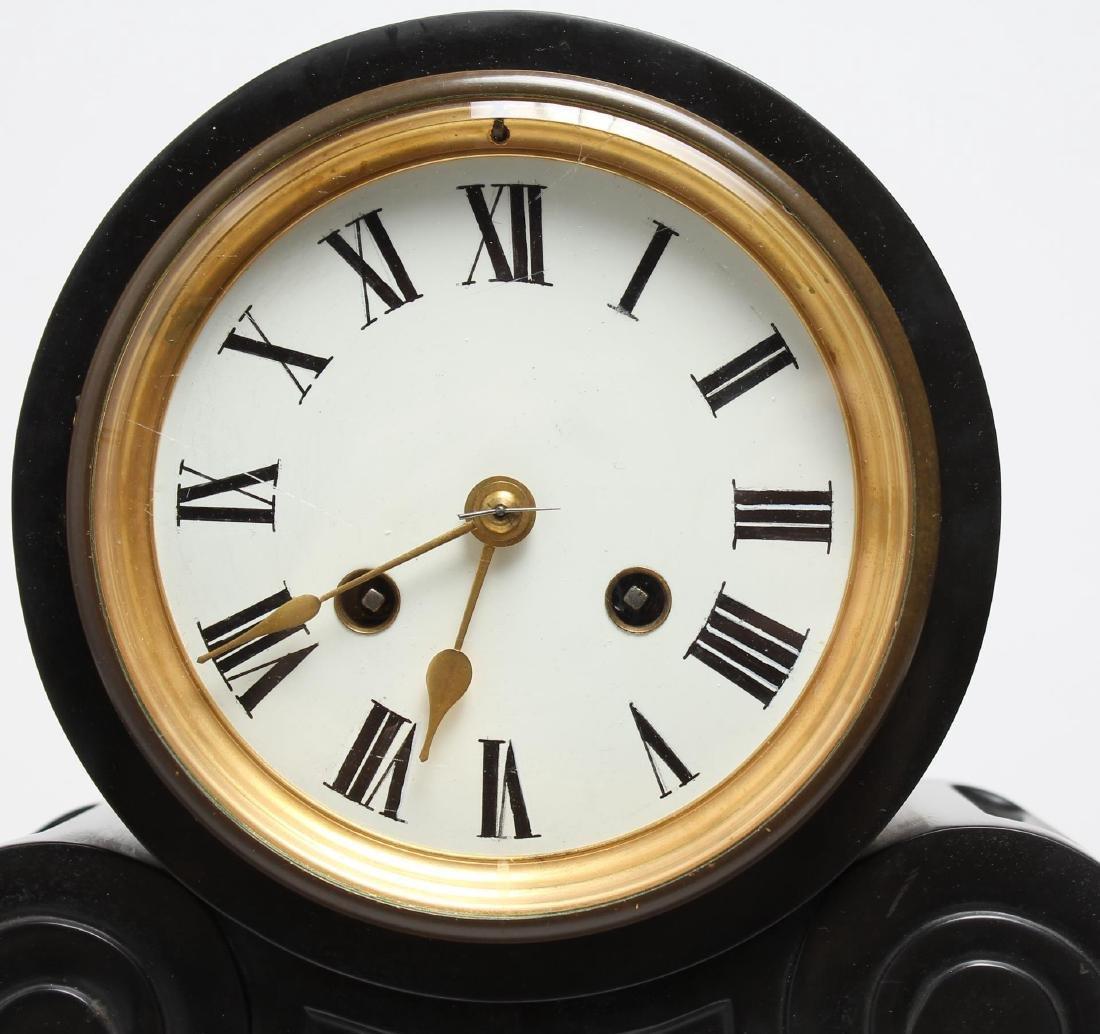 Black Marble Mantel Clock, Antique - 2